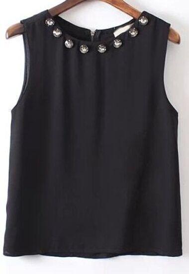 ärmellose Bluse mit Zierstein-schwarz