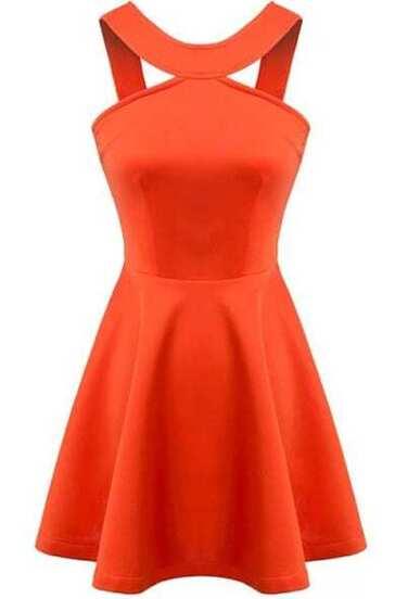 Vestido con vuelo sin espalda-naranja