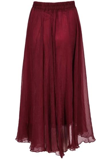Falda gasa plisada cintura elástica-granate
