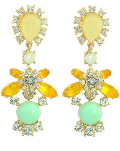 Yellow Green Gemstone Elegant Earrings