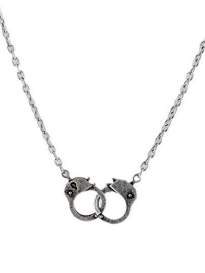 Retro Silver Handcuffs Chain Necklace