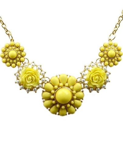 Yellow Gemstone Gold Flower Necklace