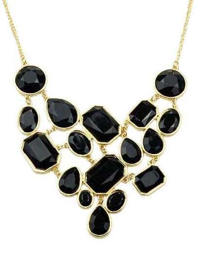 Black Gemstone Gold Splice Necklace