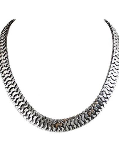 collier chaîne rétro -argenté