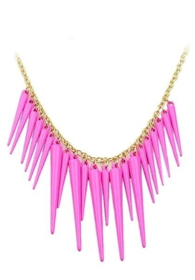 Exaggerate Rose Red Plated Spike Necklace