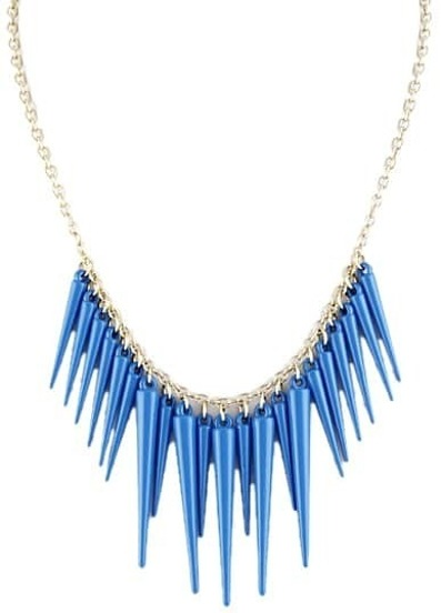 Exaggerate Blue Plated Spike Necklace