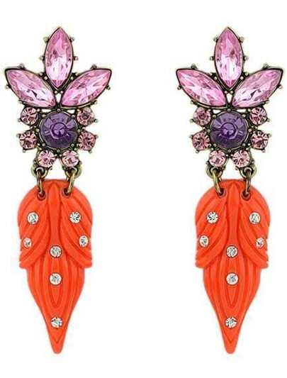 Orange Diamond Leaves Earrings