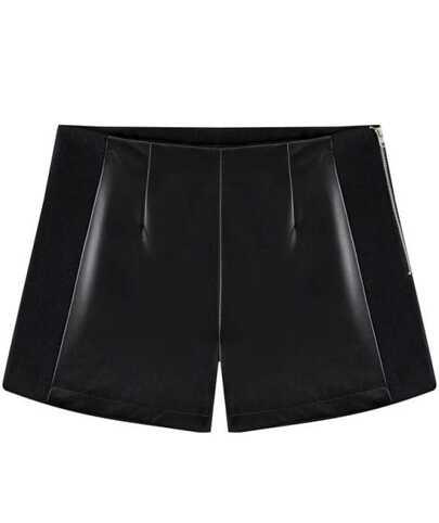 Black Contrast PU Leather Zipper Shorts