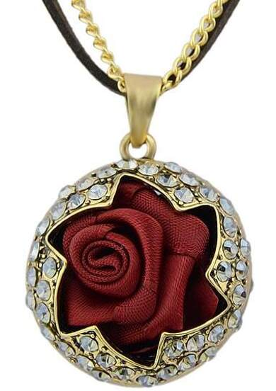 Gold Diamond Rose Necklace