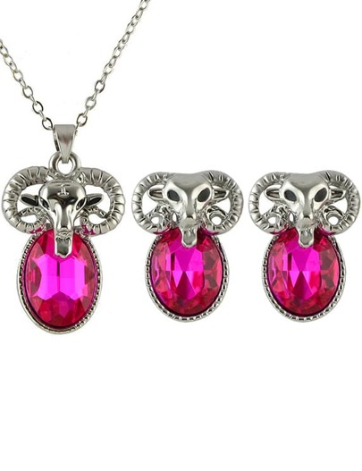 Red Gemstone Sheep Necklace With Earrings