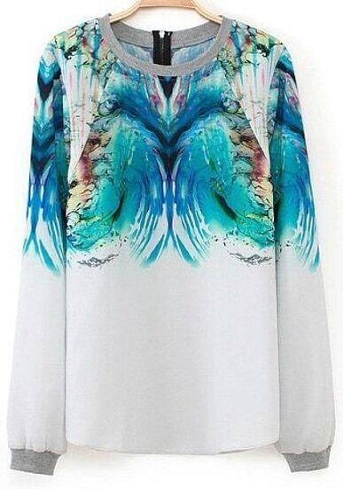 White Long Sleeve Print Zipper Blouse