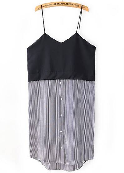 Black Spaghetti Strap Vertical Stripe Dress