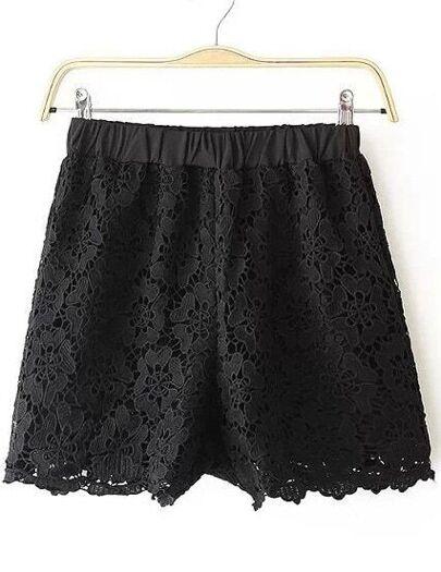 Shorts encaje Floral Crochet cintura elástica-negro