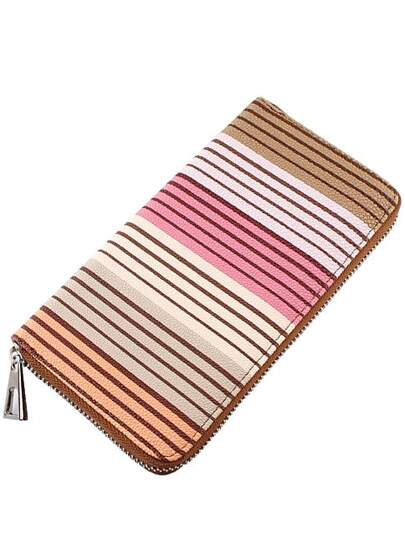 Khaki Zipper Stripe Clutches Bag