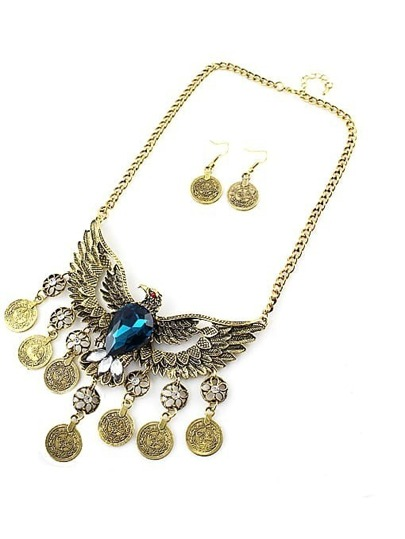 Blue Gemstone Gold Eagle Tassel Necklace With Earrings