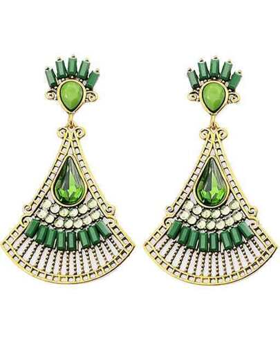 Green Fan-Shaped Gemstone Gold Earrings