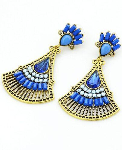 Blue Fan-Shaped Gemstone Gold Earrings