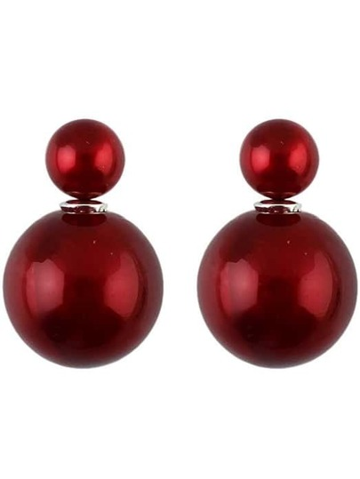 Wine Red Bead Stud Earrings