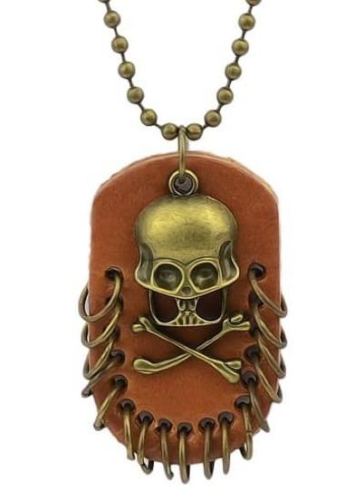 Gold Skull Bead Pendant Necklace