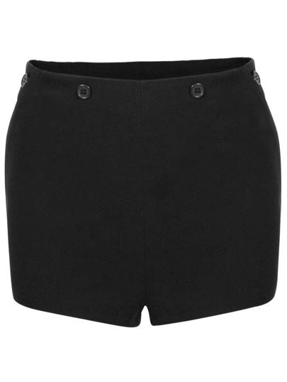 Black Buttons Straight Shorts