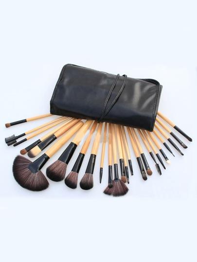 24pcs brosse cosmétique professionnel avec sac noir