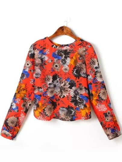 Orange Long Sleeve Floral Crop Blouse