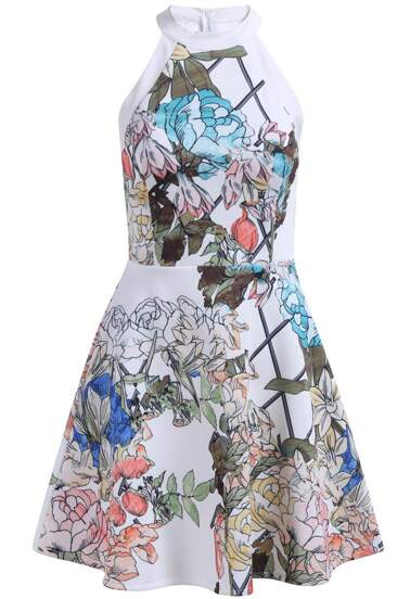 robe avec jabot épaule dénudé -blanc