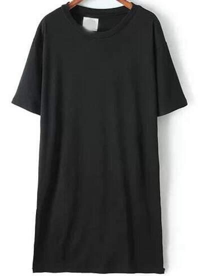 Black Short Sleeve Split Slim Dress