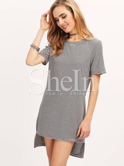 Grey Short Sleeve Striped High Low Dress