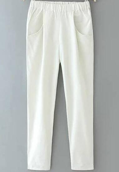 Pantalón cintura elástica bolsillos-blanco