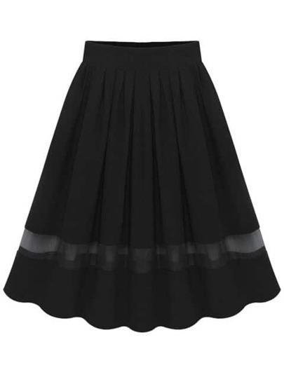 Black Elastic Waist Pleated Chiffon Skirt