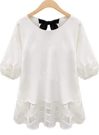 White Short Sleeve Lace Bow Chiffon Blouse