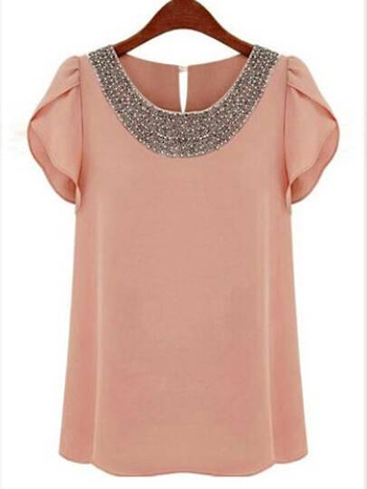 Pink Round Neck With Bead Chiffon Blouse