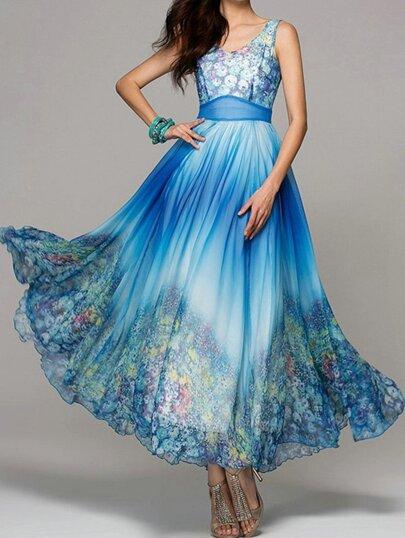 maxi robe floral sans manche -bleu