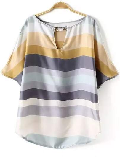Multicolor V Neck Striped Loose Blouse