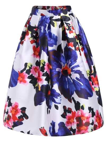 Multicolor Floral Flare Midi Skirt