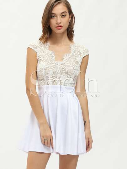 White Cap Sleeve With Lace Dress