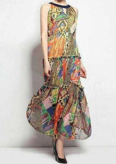 Multicolor Sleeveless Vintage Floral Maxi Dress