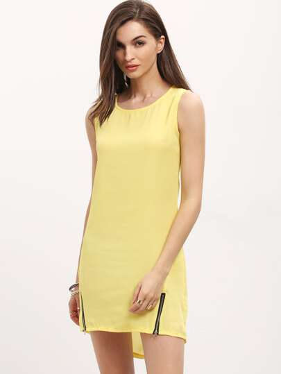 Yellow Round Neck Sleeveless Zipper Dress