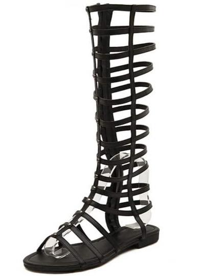 Black Hollow Boots Sandals