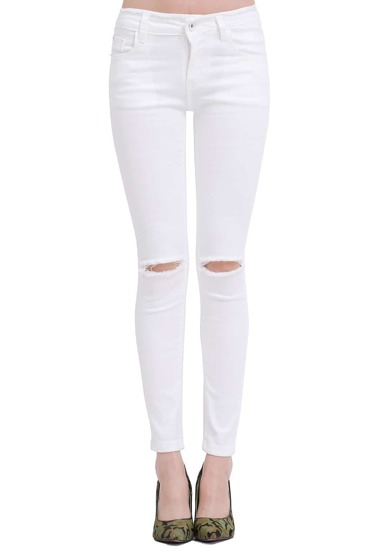 White Slim Ripped Denim Pant