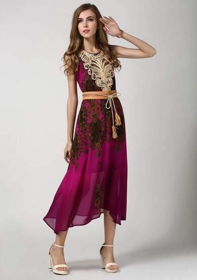 Multicolour  Aubergine Sleeveless Vintage Floral Belt Dress