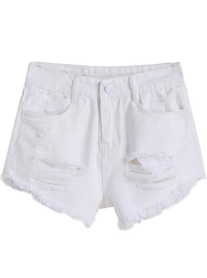 Denim Shorts mit zerrissenen Design und Quaste-weiß