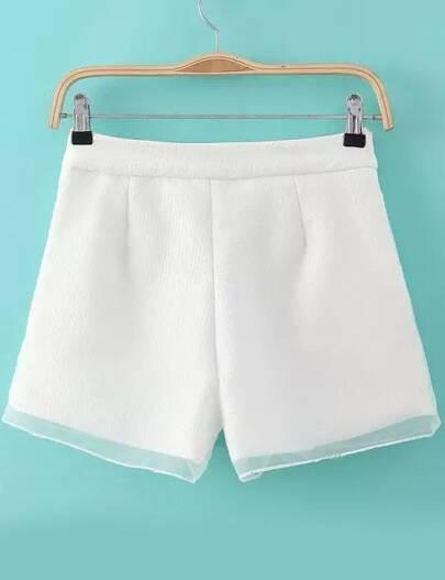 Organza Shorts mit Jacquard-weiß