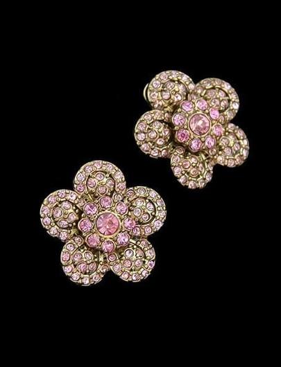 Pink Diamond Gold Flower Stud Earrings
