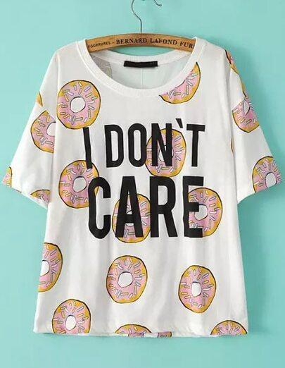 Camiseta manga corta Galleta Letras-blanco