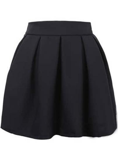 jupe évasé plissé -noir