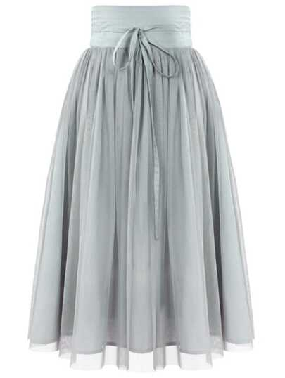 Grey High Waist Pleated Mesh Skirt