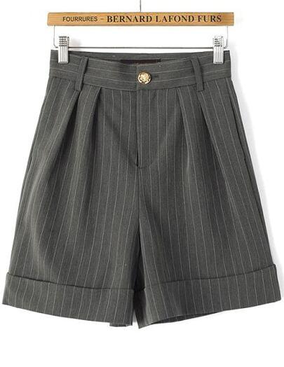 Shorts rayas verticales cintura alta-gris