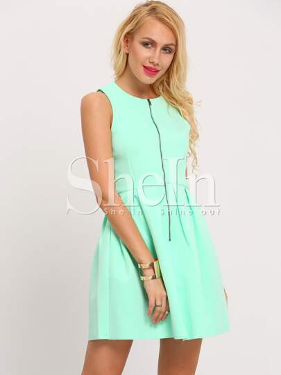 Green Aqua Sleeveless Zipper Flare Dress